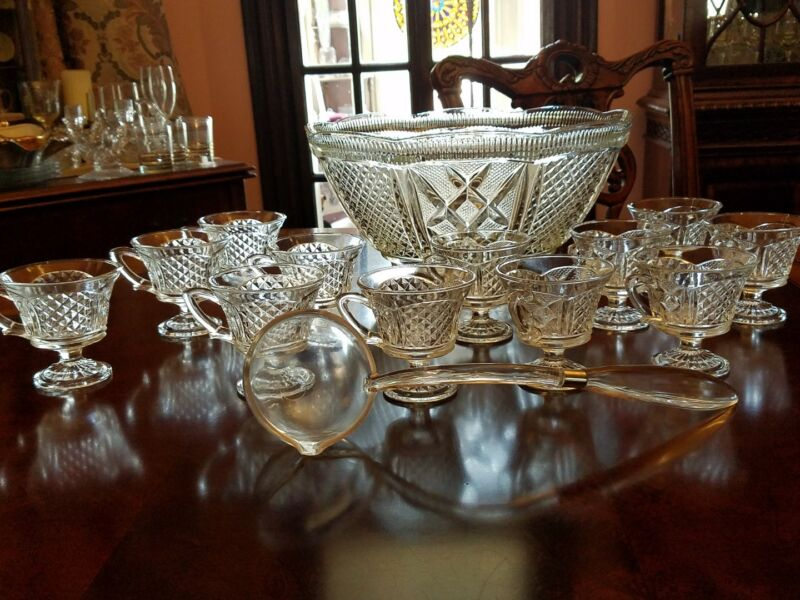 """Baroque Colony Punch Pittman Dreitzer Lancaster Bowl & 12 Cup Flared Bowl 13.5"""""""