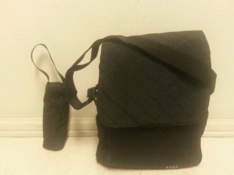 Baby Connection Organizer Diaper Bag. Black messenger style, change mat, LOOK!!