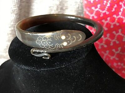 Old Tibetan Black Buffalo Horn Bracelet …beautifully shaped and carved