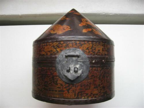 ANTIQUE CHINESE LACQUER HAT BOX DRAGONS  PHOENIX SIGNED