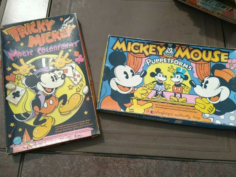Lot of 2 Vtg 1970s Disney TRICKY MICKEY & MICKEY MOUSE PUPPETFORMS 3D Colorforms
