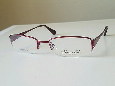 NEW KENNETH COLE KC192 SEMI RIMLESS WOMENS EYEGLASSES,COLOR RED 069,51X18X130