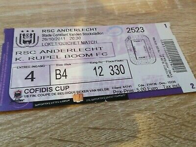 Ticket   Anderlecht Rupel Boom Coupe de Belgique 2011