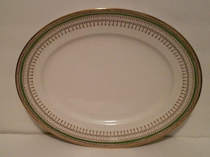 Vtg Ridgway Staffordshire Venetian Platter Brown Transferware Green Gold Plate