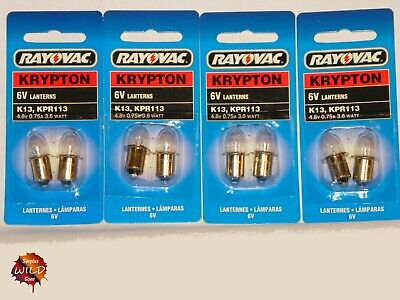 Krypton 6v Lantern Bulbs - 4.8V / 0.75A / 3.6W - 4D Cell Flashlight Bulbs