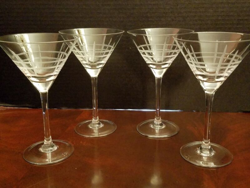 4 Martinis vertical horizontal frosted cuts 9 oz sophisticated