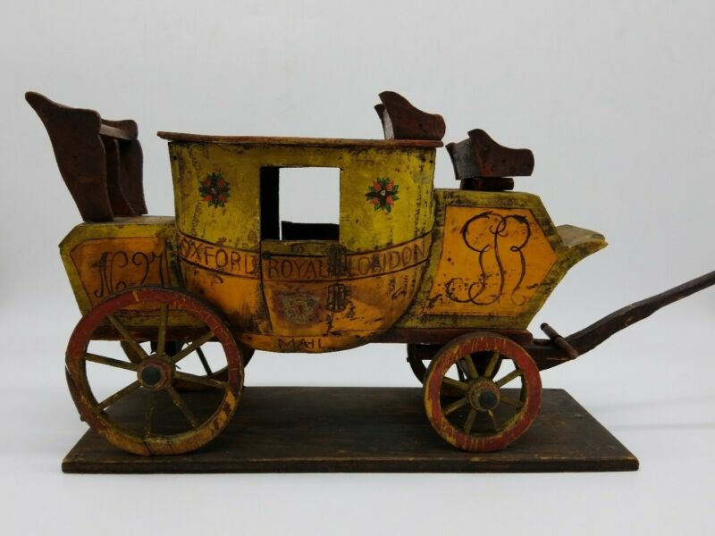 Oxford Royal London Stagecoach 19th Century Wood Model Painted 1800