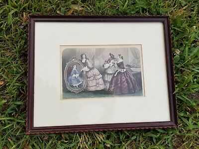 Antique-1800's French Fashion Paris-Hand Colored Lithograph Art Print