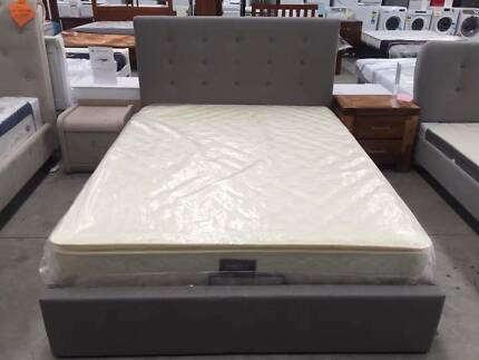 Brand New Fabric Bed Frame With Gas Lift in Queen, Big Storage