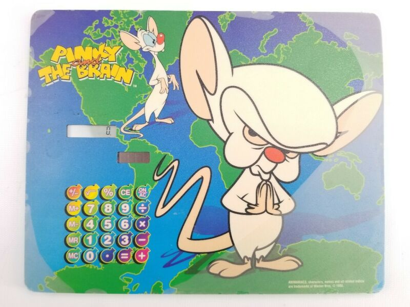 Warner Brothers Pinky & The Brain Animaniacs 1998 Computer Mouse Pad Calculator