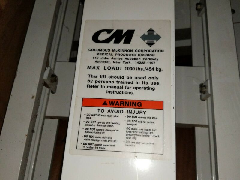 Hospital Heavy Patient Bariatric Gantry Lift 1000lb Columbus Mckinnon
