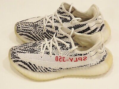 Adidas Yeezy Boost 350 V2 Zebra Men's Athletic Shoes Size 8 US - White/Black/Red