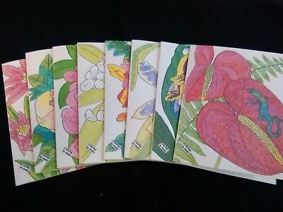Colorful FLOWER themed Blank Note Cards.  Set of 8.