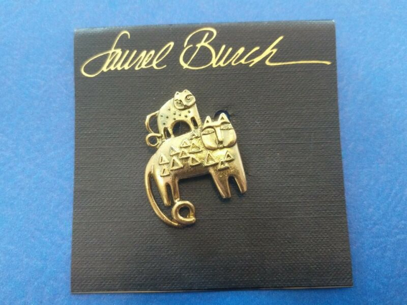 Laurel Burch Gatos Cat with Kitten Pin Brooch. Gold Tone.