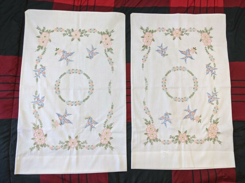 2 Vintage Pillowcases Hand Embroidered Flowers Birds Leaves Standard Size New