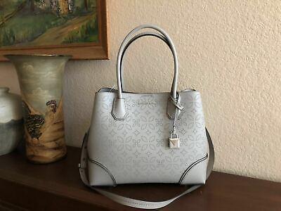 Pearl Gray Leather - Michael Kors Pearl Grey Perforated Leather Mercer Corner Medium Center Zip Tote