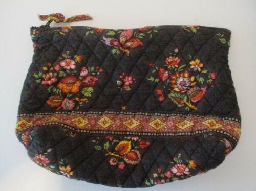 Vera Bradley Brown Floral Make Up Purse Bag  10 X 6 X  2 1/2 In.