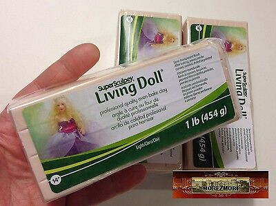 M00383x3 MOREZMORE 3 lb Living Doll LIGHT Polymer Bake Clay Super Sculpey