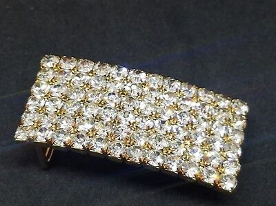 Vintage Prong Set Clear Rhinestone Crystal Belt Buckle  Rhinestone Set Belt Buckle