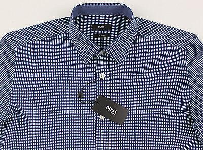 5decba573 Men's HUGO BOSS Blue White Circles Shirt M Medium NWT NEW Slim Fit ROBBIE  ...