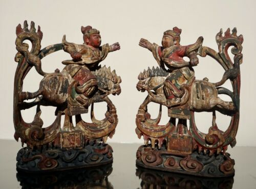 Chinese Ming Style Wood And Polychroome Table Carvings, 18th-19th Century.