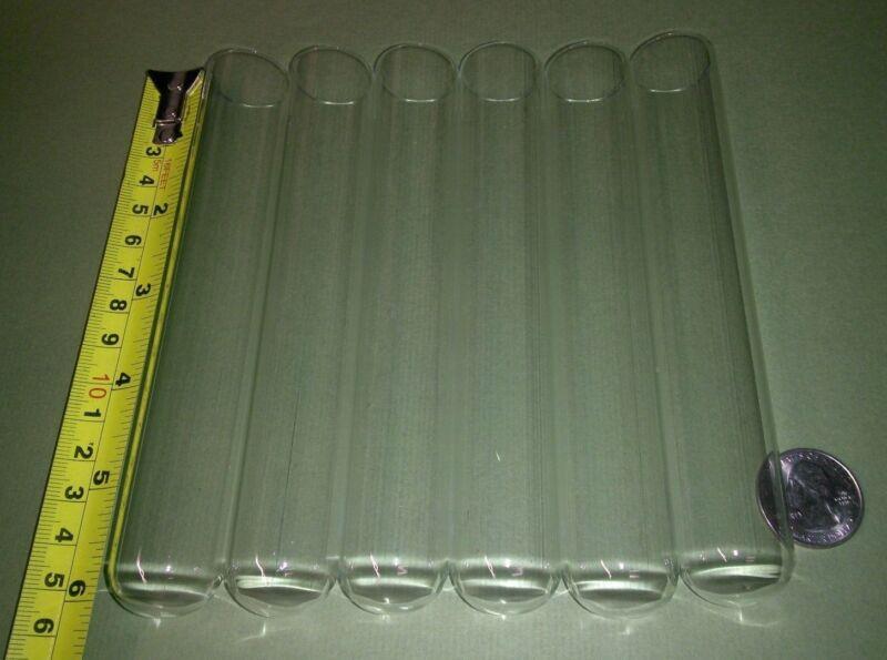 6 big NEW glass test tubes tube, Borosilicate (Pyrex equiv) large 25 x 150