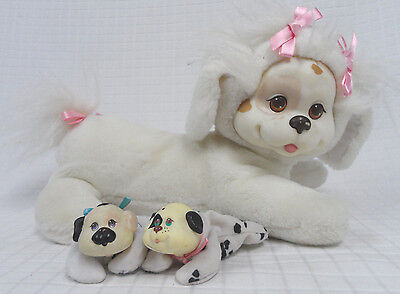 Vtg 1991 Hasbro PUPPY Surprise WHITE Tan PLUSH Dog BABY Boy/Girl SPOTS Clean GUC