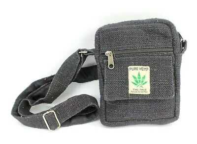 Hippie Hemp (Small Hemp Crossbody Purse Boho Hippie Black Passport Travel Shoulder Bag  )