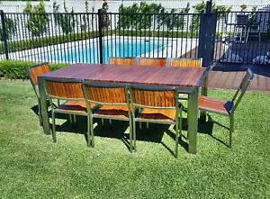 Beautiful Teak & Stainless Steel 8 Seater Outdoor / Indoor Dining Virginia Brisbane North East Preview