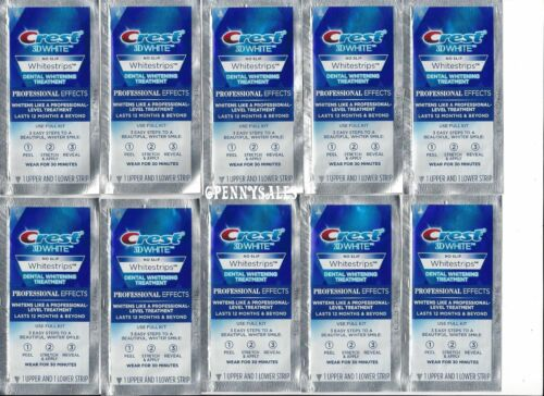 **CREST Whitestrips 3D White NO-SLIP Professional Effects 10 Pouches / 20 Strips