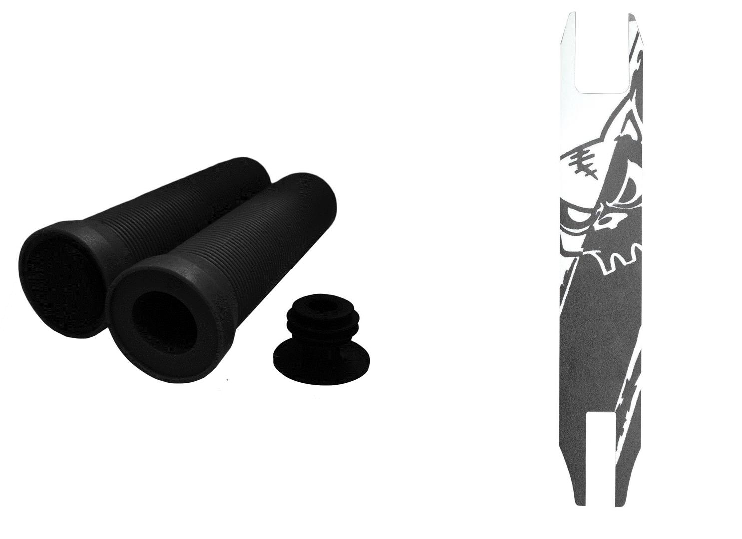Schwarz /& Weiß Griffband Kombo Team Dogz Kickboard Lenkergriffe Schwarz