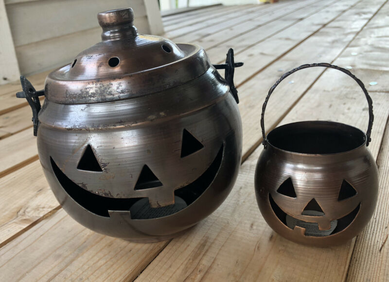 VNTG Copper Brass Pumpkins Jack-o-Lantern Hosley Brand Halloween Candle Holders