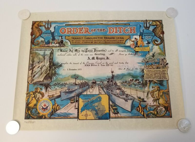 Rare Vintage Order of the Ditch Panama Canal Navy Tiffany Publishing Co.