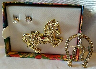 Rhinestone Horse Prancing Pony Gold Tone Brooch Lucky Horseshoe Pin Stud Earring