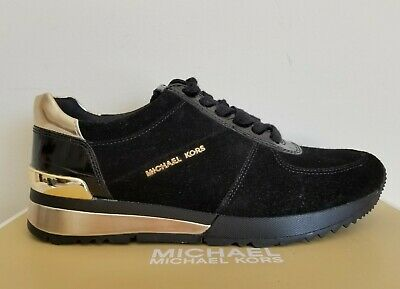 Michael KORS ALLIE Black Suede Gold MK Logo Trainer Sneakers US 6 I LOVE SHOES