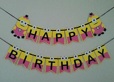 Minion Despicable me PINK GIRL MINION Happy Birthday Banner.