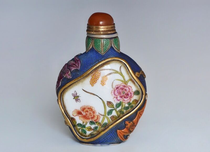 A Chinese Famille Decorated Glass Snuff Bottle
