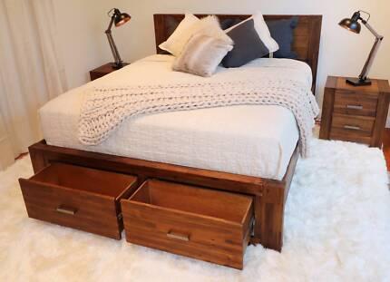 Modern Hardwood Sorrento Style Bed Frame (Queen/King) - Brand New