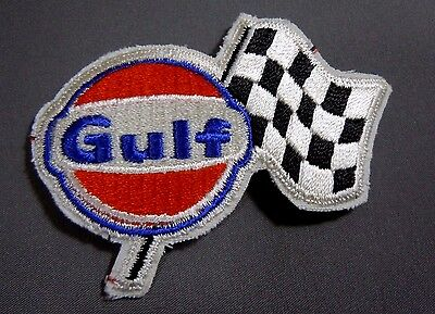 GULF Fuel- Checker Flag Embroidered Sew On Uniform-Jacket Patch 3 1/2""""