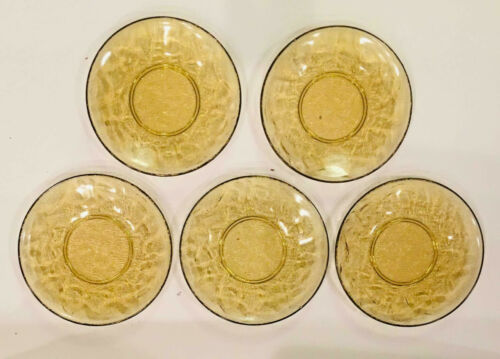 "VINTAGE Depression Glass AMBER Heavy Embossed Federal 5"" Plates Set of 5"
