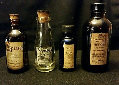 Vintage Style Cannabis, Heroin, Opium & Cocaine Bottles...Handcrafted by Artist