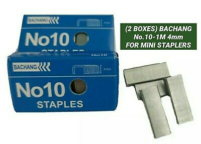 2 Boxes Bachang No.10-1m 4mm For Mini Staplers 1000 Staples From Usa Seller