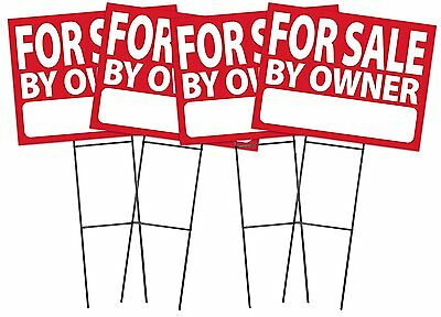 Large  18 X24   For Sale By Owner   Red   Sign Kit With Stands   4 Pack