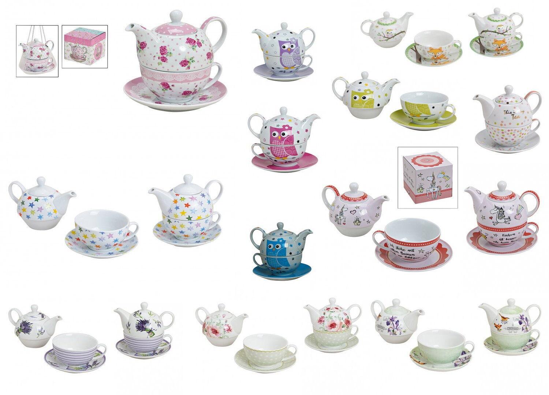 TEA FOR ONE TEEKANNEN-SET 3-TLG Porzellan Motiv Auswahl