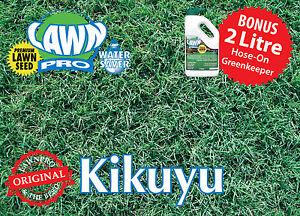 Lawn Pro 1kg 100% Pure Kikuyu Lawn Seed Covers 1000sqm FREE 2 ltr GREENKEEPER
