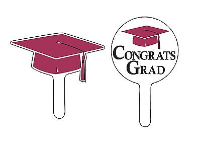 Congrats Grad Cupcake Picks, Graduation Hat Cake Decor, Burgundy School Colors  Hat Cupcake Picks