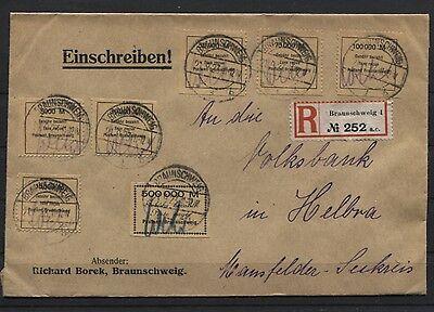 Gebührenmarken Fa. Borek komplett auf R-Brief Braunschweig nach Helbra (B02915)