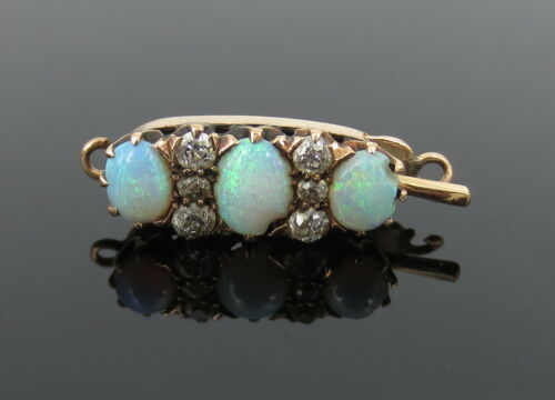 Antique 0.25ct Diamond & Opal 14K Yellow Gold Necklace Clasp