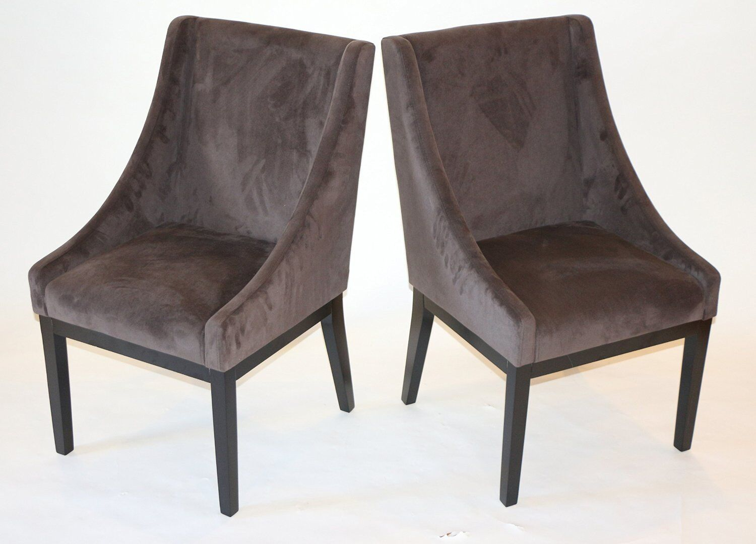 set of 2 modern brown arm slipper dining sofa chair accent l
