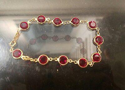 Vintage Swarovski Red Crystal Gold Tone Bezel Bracelet Swan Signed